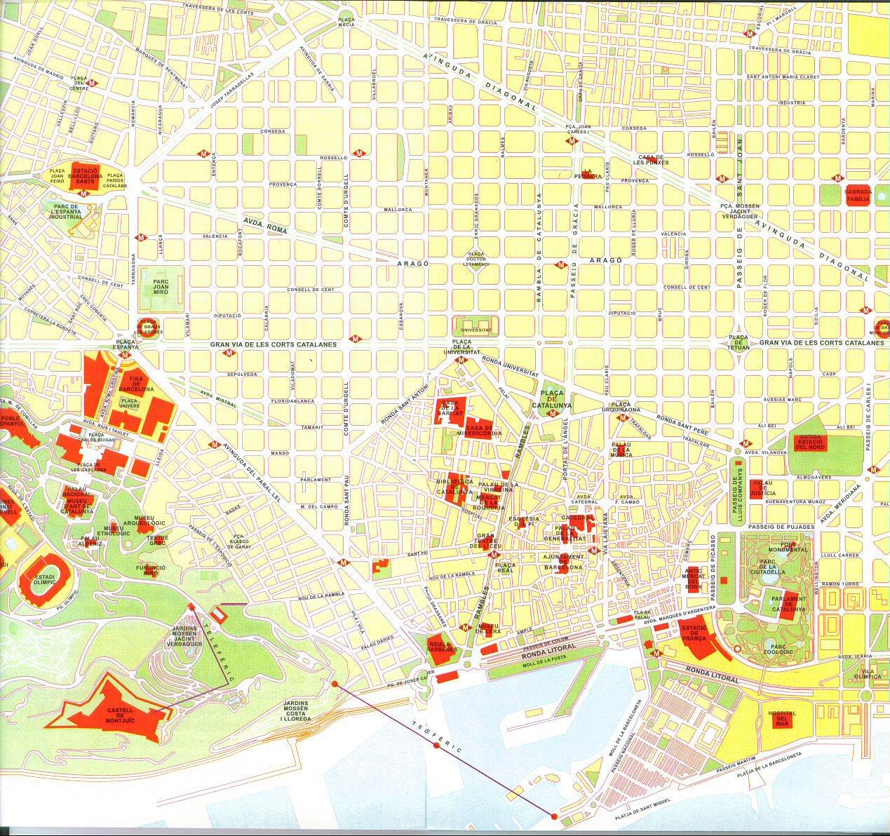 Obrázek turistické mapy Barcelony
