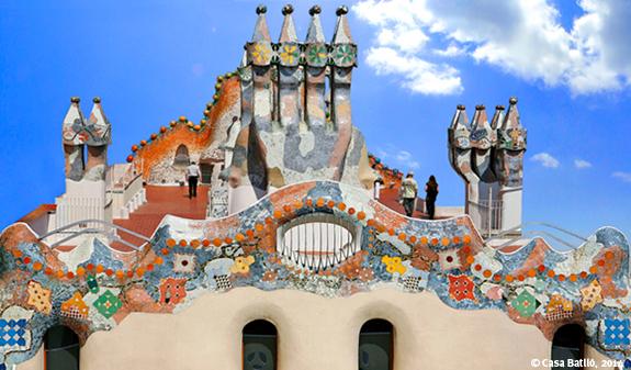 Fotka střechy Casa Batlló