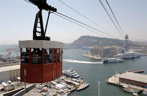 Fotografie lanovky v přípstavu Barcelony