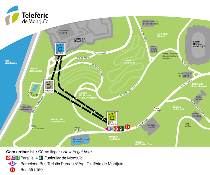 Mapa lanovky na Montjuic od stanice Paral-lel