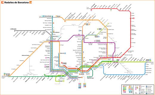 Mapa vlaků v Barceloně a okolí