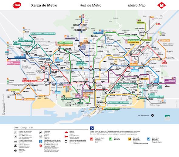 Mapa metra v Barceloně ke stažení