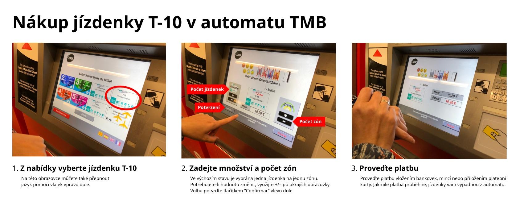 Postup nákupu jízdenky T-10 v automatu
