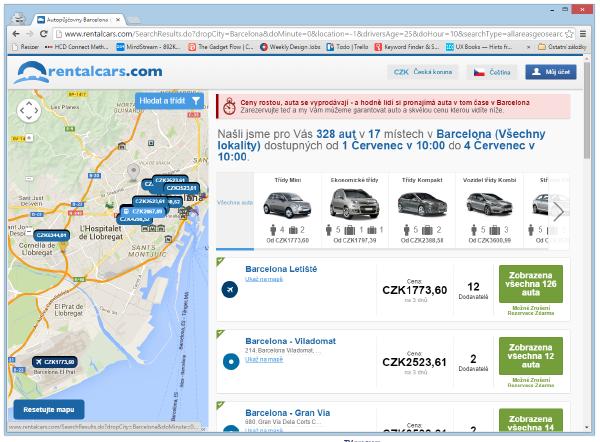 Ukázka server Rentalcars.com