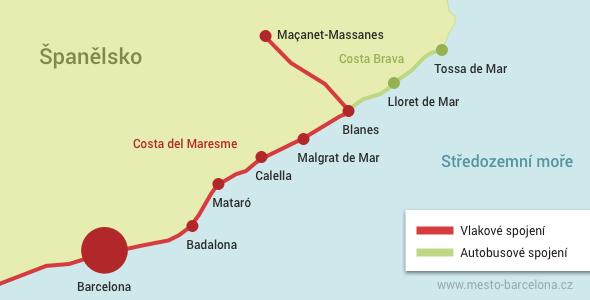 Mapa pobřeží Španělska s vyznačenou oblastí Costa del Maresme a Costa Brava