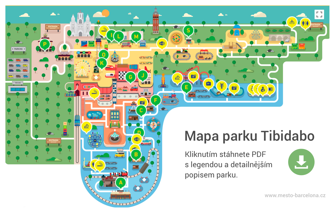 Mapa parku Tibidabo